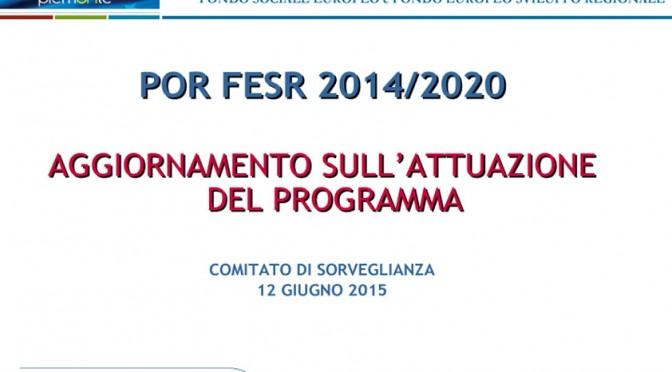 POR FESR 2014-2020 AGGIORNAMENTO ATTUAZIONE DEL PROGRAMMA