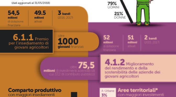 PSR 2014-2020 – Infografica sui risultati della misura 6 per i giovani agricoltori